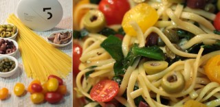 Simple Tagliatelle with Anchovies, medley of Olives and 5 Olive Oil